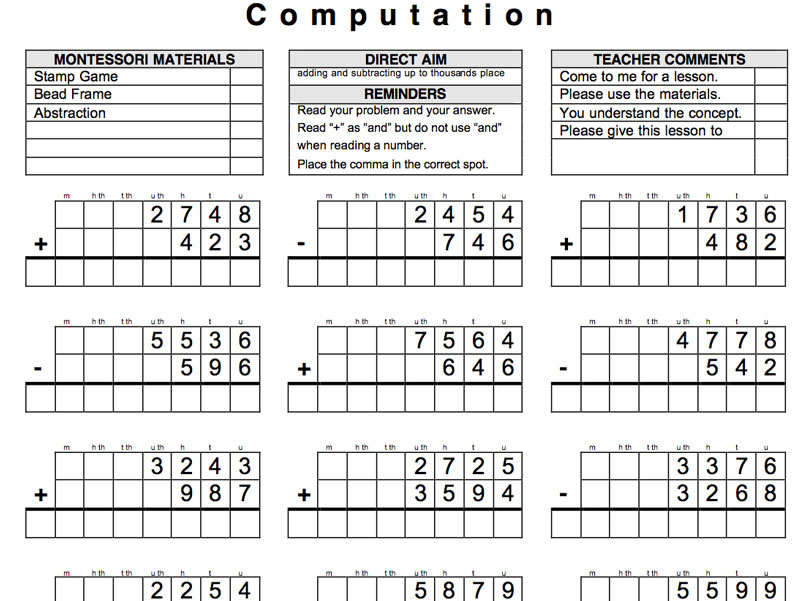 9-12 Math Computation – Mixed Problems | Montessori Made Manageable